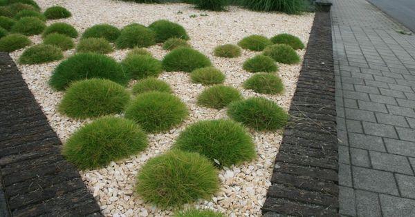 Eenvoudige minimalistische moderne voortuin van grassen en split terrasse et petit espace - Idee deco eetsalon eigentijdse ...