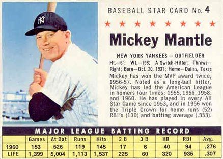 1961 Post Cereal Mickey Mantle 4hc Baseball Card Value Price Guide Baseball Card Values Baseball Cards Mickey Mantle