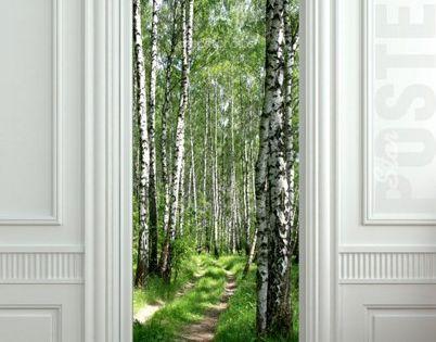 Wall Door STICKER birch forest road way decole poster by Pulaton