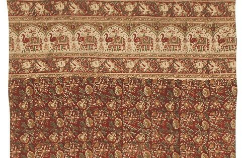Handmade Cotton Hand Block Elephant Print Tab Top Curtain Drape 44x88 Burgundy Tops Products