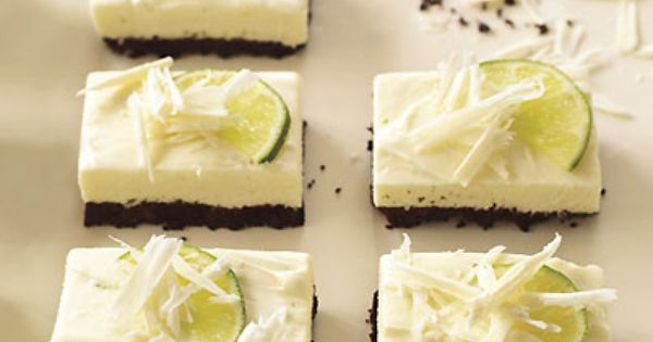 Lime cheesecake, Cheesecake bars and White chocolate on Pinterest