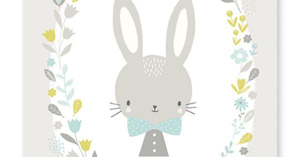 Sweet bunnie blauw poster gras onder je voeten illustrations pinterest animation - Deco kamer bebe blauw ...