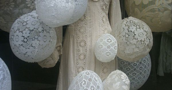 lace balloon window display