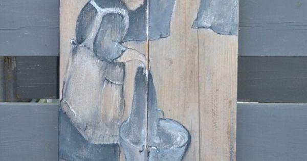 Schilderij op steigerhout voor buiten m lningar pinterest m lningar och inspiration - Schilderij kooi d trap ...
