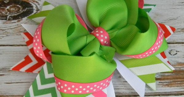 Girls hair bows Boutique hair bows Pink Green Chevron Polka dot Stacked