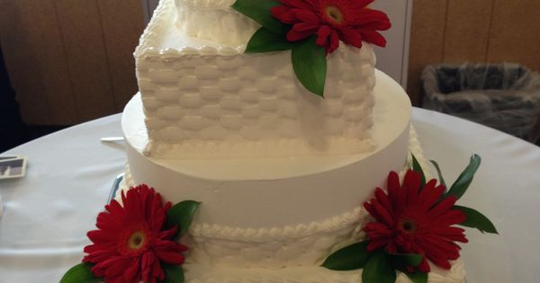 whole foods market wedding cake red daisies wfm cakes pinterest red daisy whole foods. Black Bedroom Furniture Sets. Home Design Ideas