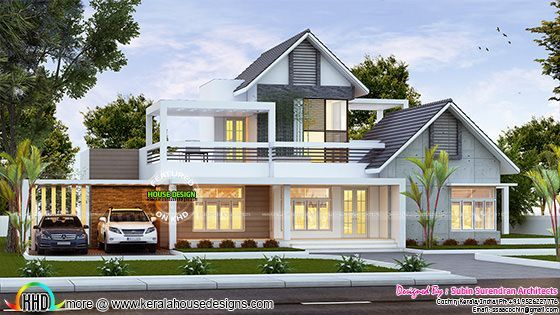 Contemporary Mix Sloping Roof Home 2400 Sq Ft House Arch Design Kerala House Design Contemporary House Exterior