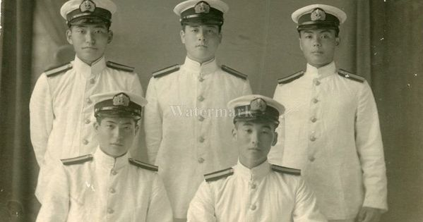 original wwii japanese photo navy air force officers in