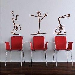 Modern Stick Figure Men Decals Funny Wall Decal Wall Design
