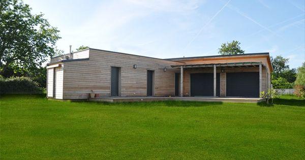 Vivanbois maison ossature bois bardage en m l ze menuiserie aluminum k line construction for Bardage fundermax ossature bois