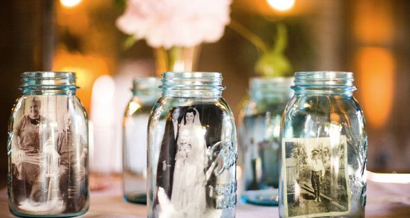 Vintage photos in mason jars