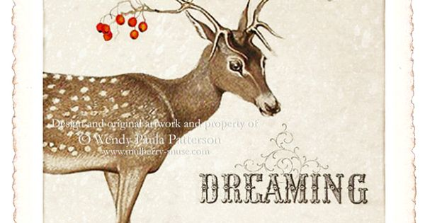 CHRISTMAS CARD vintage Christmas reindeer and red berries christmas vintage reindeer