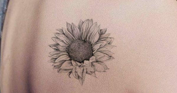 Grace Realistic Black White Sunflower Temporary Tattoo Minimalist Tattoo Lower Back Tattoos Back Tattoos