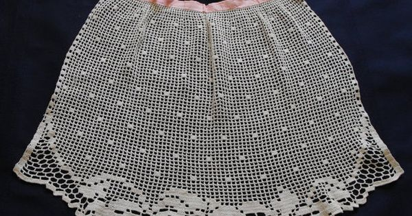 Filet crochet vintage apron and pansies on pinterest