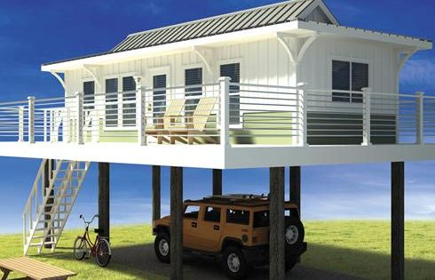 Tiny container house on stilts cargo project pinterest for Small beach house plans on stilts