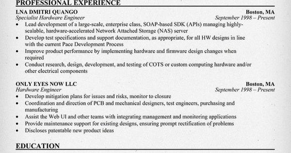 hardware engineer specialist resume