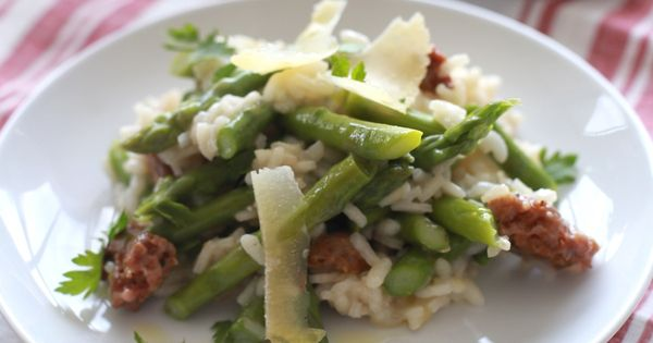 Asparagus and Italian Sausage Risotto | Recipe | Risotto, Asparagus ...