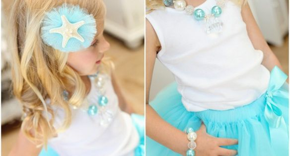 mermaid necklace + starfish bow...I am so making that hair bow for