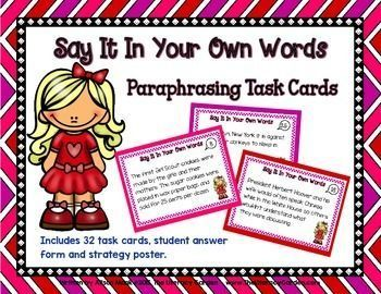 Paraphrasing Task Card Say It In Your Own Word Paraphrase Writing Center Activities Are Quotation Mark Necessary On Paraphrases