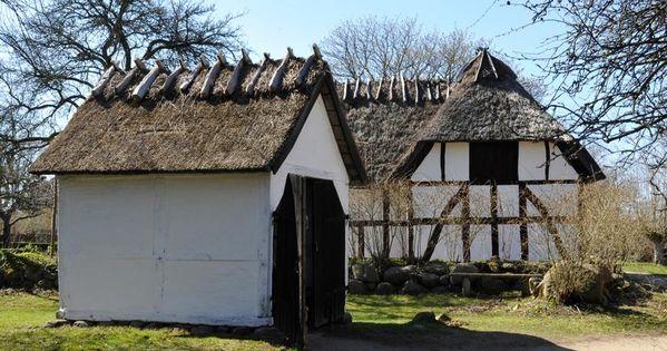 Sjaellandsk Sprojtehus Med Hestetrukken Brandspojte Ca 1850 Slotte Huse Danmark