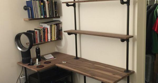 industrial pipe and walnut l shaped desk with shelves kelsey 39 s home pinterest pipes. Black Bedroom Furniture Sets. Home Design Ideas