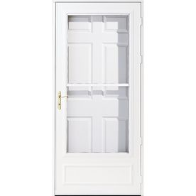 Pella Helena White Mid View Tempered Glass Retractable Wood Core