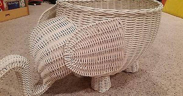 Pottery Barn Kids Pbk Elephant White Rattan Wicker Basket Large
