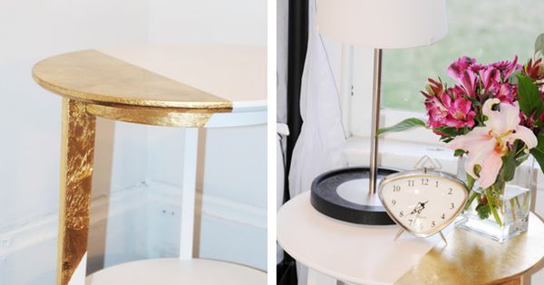Asymmetrically gold-leafed accent table