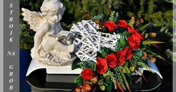 Aniol Zamyslony Serce Stroik Na Grob Cmentarz Grave Decorations Funeral Flower Arrangements Flower Arrangements