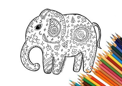 Elefante Da Colorare Stampabile Mandala Zentangle India Africa