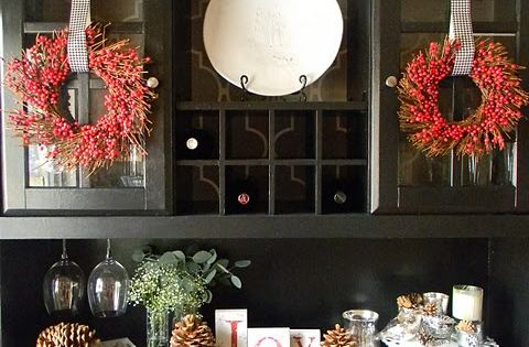 How To Decorate The Hutch For Christmas Diy Christmas Decorations Pinterest Decorating