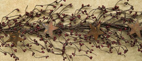 CWI Gifts Pip Berry and Star Garland 40-Inch Burgundy