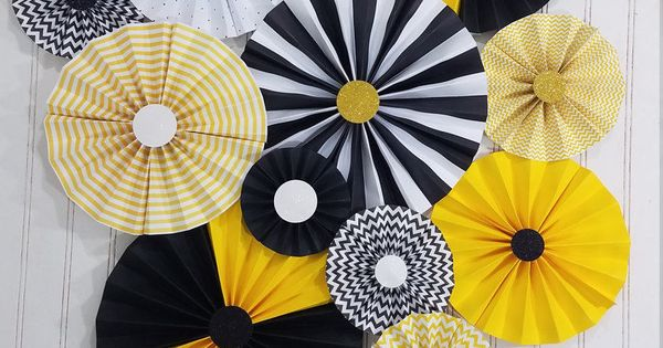 bumble bee black and yellow party pinwheel rosettes paper fans  bee day decor  birthday  baby