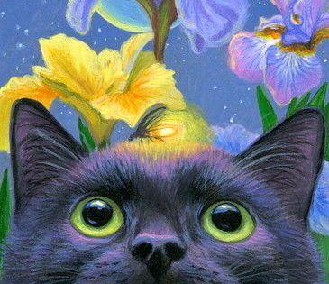 Aceo Original Black Cat Firefly Iris Flower Spring Garden Moon Painting Art Art Paintings Ebay Cat Art Cats Illustration Moon Painting