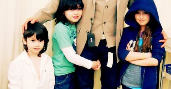 with his adorable children ava harvey amp pearce joseph