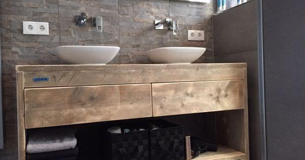 Badkamermeubel van steigerhout met 2 lades en schap 51220131130 badkamer pinterest - Badkamer kamer model ...