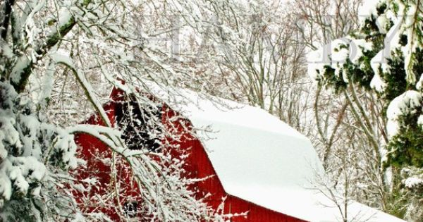 """Red barn in the snow"" ~ really a winter wonderland"