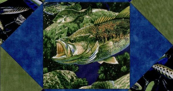 Lure Of The Bass Fish Large Pre Cut Quilt Kit Blocks