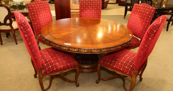 Round dining table with 5 red chairs colleen 39 s classic for Dining room tables las vegas