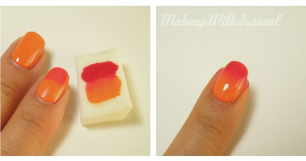 with a sponge make beauty nails.