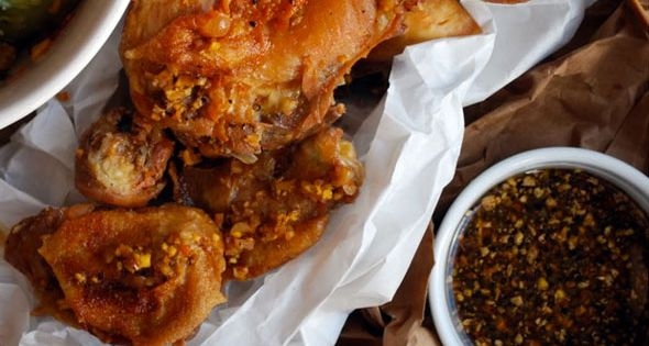 Chicken Wings With Momofuku Octo Vinaigrette Recipe — Dishmaps