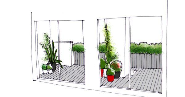 Vista desde el interior de dise o de jardin para terraza for Perspective jardin 78