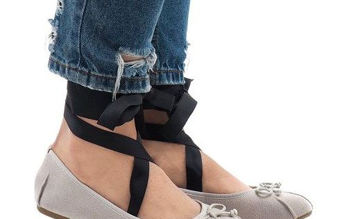 Szare Balerinki Sznurowane Kokardki B 62 Ballerina Shoes Women Shoes Shoes