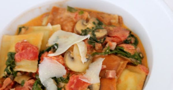 Ravioli, Mushrooms and Spinach on Pinterest