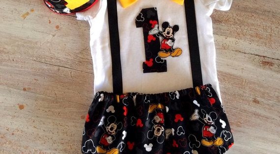 Cake Smash Mickey Mouse Outfit Boys 1st Birthday Birthday Outfit