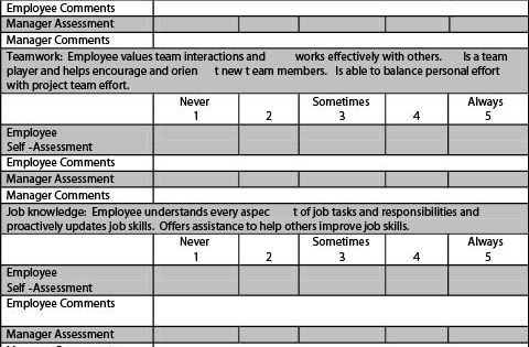 Example Employee Performance Appraisal Form Church - employee self assessment