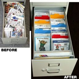 Sewing Patterns Organised In A Filing Cabinet Organise