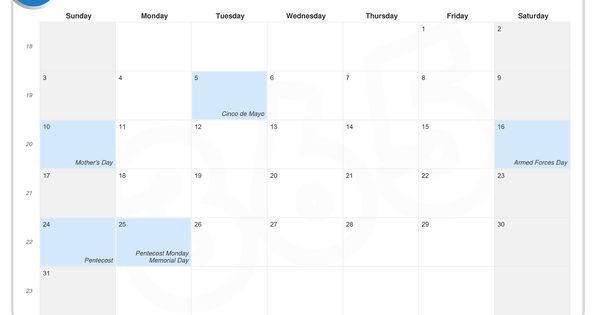 memorial day calendar 2013