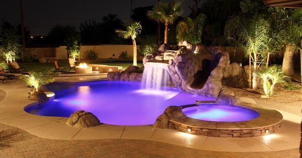 Stunning swimming pool and landscape waterfalls, outdoor ...