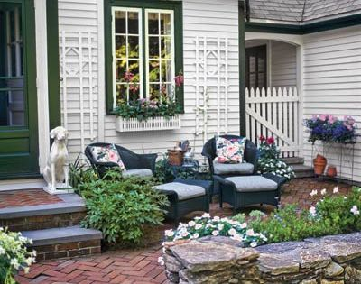 front entry courtyard carve out a seating area in the front yard by enclosing a - Front Yard Patio Ideas
